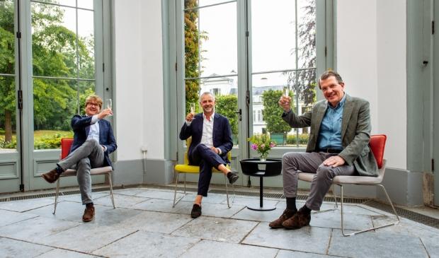 Martijn Meijer (Gispen, Projectmanager), Frans van der Avert (Paleis Soestdijk I Made by Holland) en Maurits van Berckel (Gispen, Commercieel Directeur).