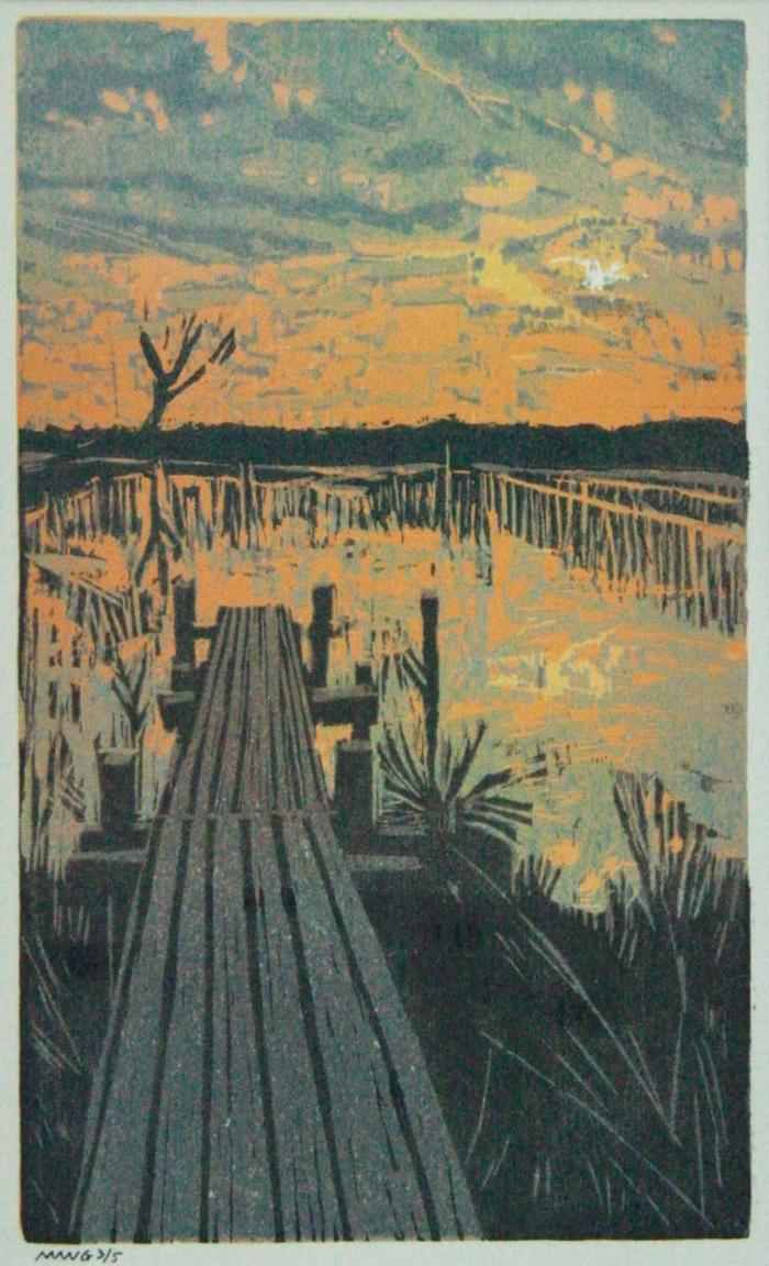 """Genomineerde kunstwerk wedstrijd """"In de geest van Jan Mankes"""" . Houtsnede op papier. Marieke Wijffels-de Groot."""