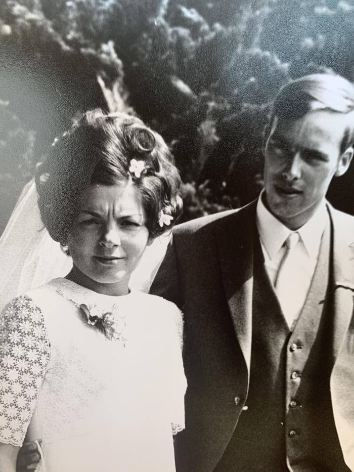 Wim en Trudy op hun trouwdag