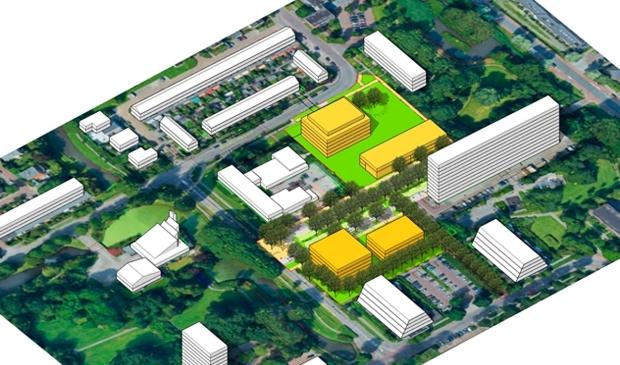 De nieuw te bouwen gebouwen (geel) in Bankras Kostverloren.