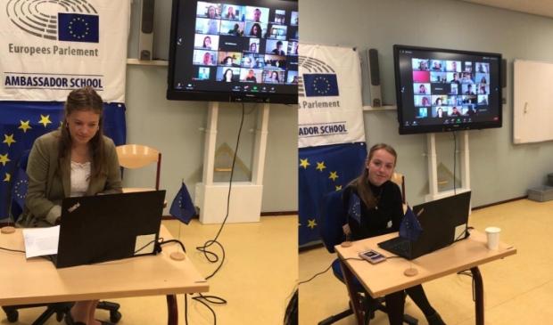 Feike en Rosalie tijdens European Youth Webinar