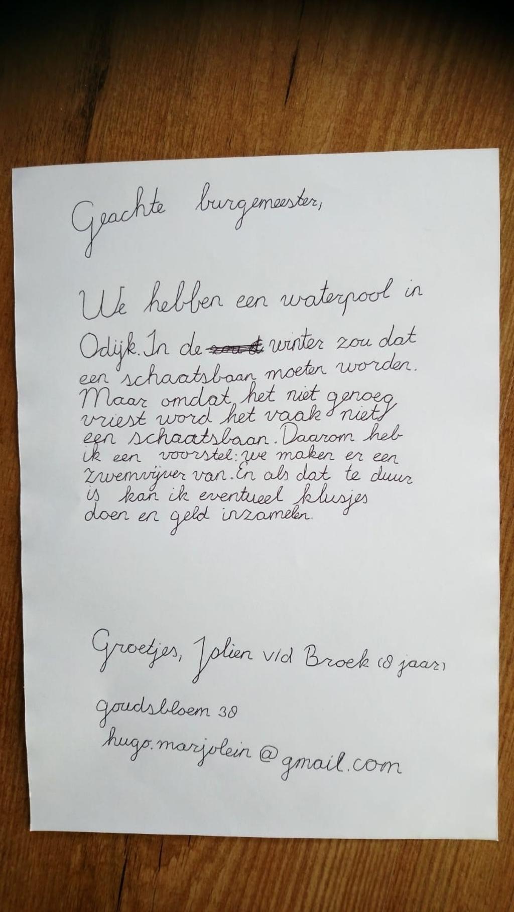 De brief die Jolien aan de burgemeester stuurde Hugo van der Broek © BDU media