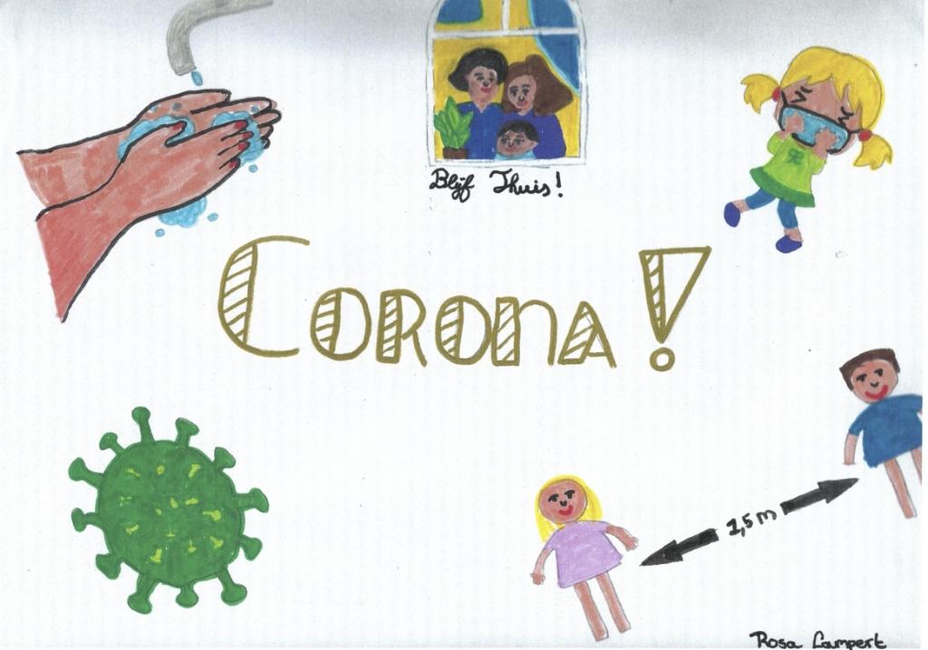 Deel van de tekening zoals Rosa Lampert de coronatijd ziet. Rosa Lampert © BDU media