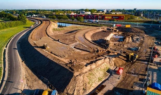Werkzaamheden bij de nieuwe A12-afslag bij Bennekom voor de Parklaan.