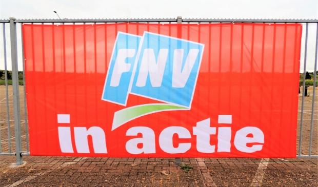 Een spandoek van FNV tijdens een eerdere staking.