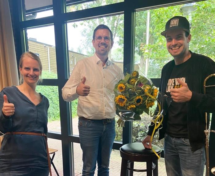 CDA Janneke van Oversteeg en Lennert Onvlee met dirigent Yavin Groenewegen