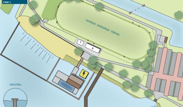 Het plan voor een stadsstrand aan de noordelijke Poeloever met een afgebakend stuk zwemwater.