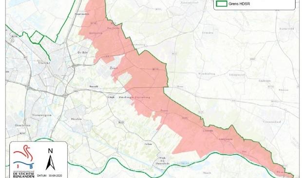 De kaart geeft de gebieden aan waar het verboden is om te sproeien.