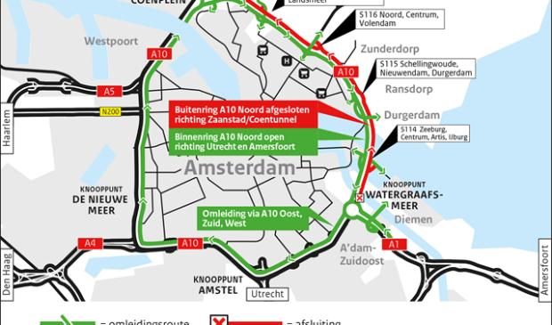 Omleidingskaartje afsluiting A10 Noord buitenring richting Zaanstad en Coentunnel tussen knooppunt Watergraafsmeer en knooppunt Coenplein.