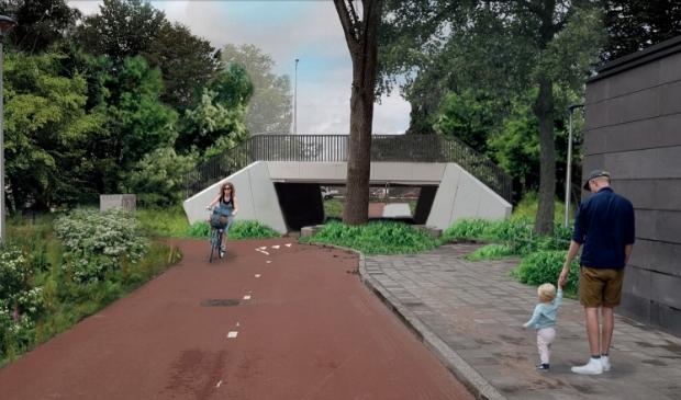 Zo gaat de omgeving van de fietstunnel eruitzien.