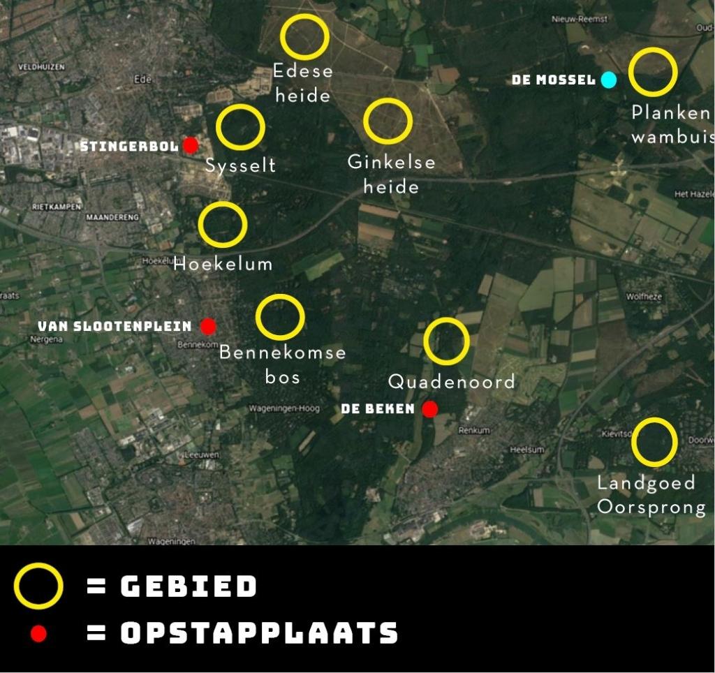 Een plattegrond met de locaties die de organisatie voor ogen heeft. Woest&Bijster © BDU Media
