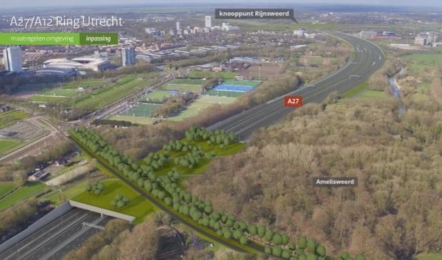 <p>Landgoed Amelisweerd ligt strak tegen de A27 aan.</p>