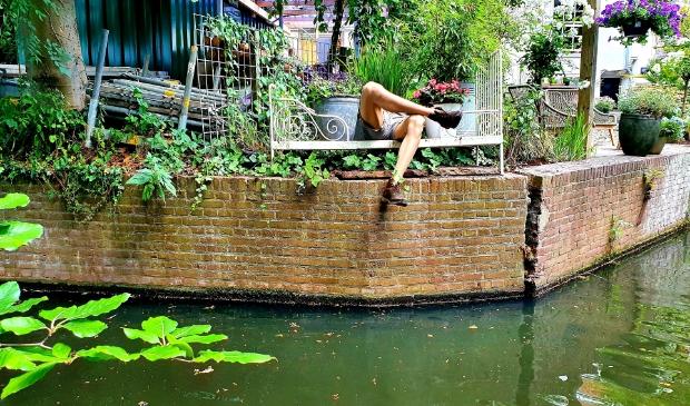 """Deze foto is op 25 juni vanaf een supboard gemaakt op de Amersfoortse gracht. Een achtertuin aan Muurhuizen, ter hoogte van de Weversgracht. ,,Onze stad is prachtig, maar vanaf het water zie je nog zoveel meer. Uit een hele reeks heb ik deze gekozen. Omdat ik telkens weer denk dat er echt iemand geniet op dat bankje langs het water. Maar waar is toch de rest van die man?"""""""
