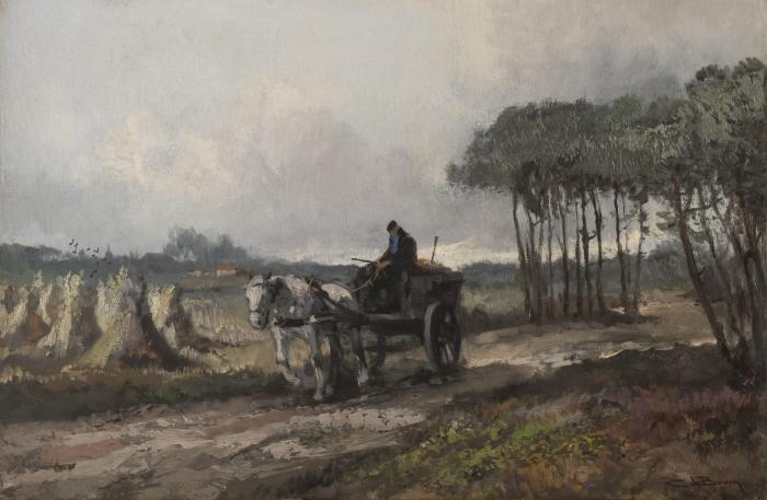 Paard en wagen op boerenlandweg