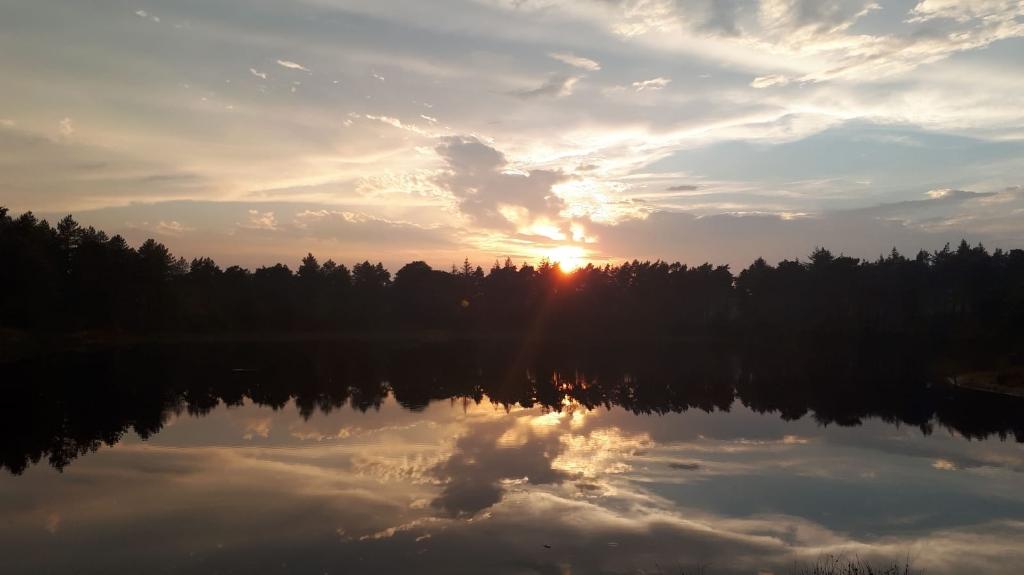 Deze foto is gemaakt op zondagavond 16 augustus  bij zonsondergang. Bij mijn favoriete plek in Den Treek bij het Hazenwater. Iedere avond ben ik daar wel te vinden. Mooi stukje natuur waar ik helemaal tot rust kom na een heftige periode in mijn leven. Prachtig is te zien hoe de wolken weerschijnen in het water. Caroline van Zeumeren © BDU media