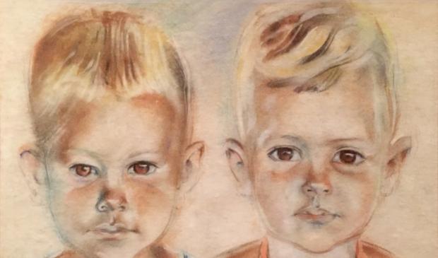 Bep Rietveld tekende in 1945 in een Jappenkamp dit portret van Dick en Riemt Legger.