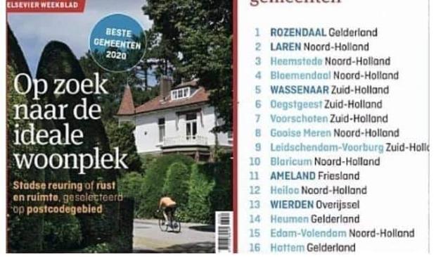 Bloemendaal is de vierde beste woongemeente van Nederland, dat blijkt uit onderzoek Elsevier Weekblad.