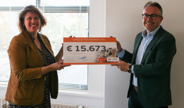<p>Links: Ineke Sybesma, Directeur Fonds Slachtofferhulp, rechts: Ivar Camps Retail Manager CarProf</p>