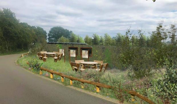 <p>Aan de rand van het zonnepark komt een rustplek voor fietsers.</p>