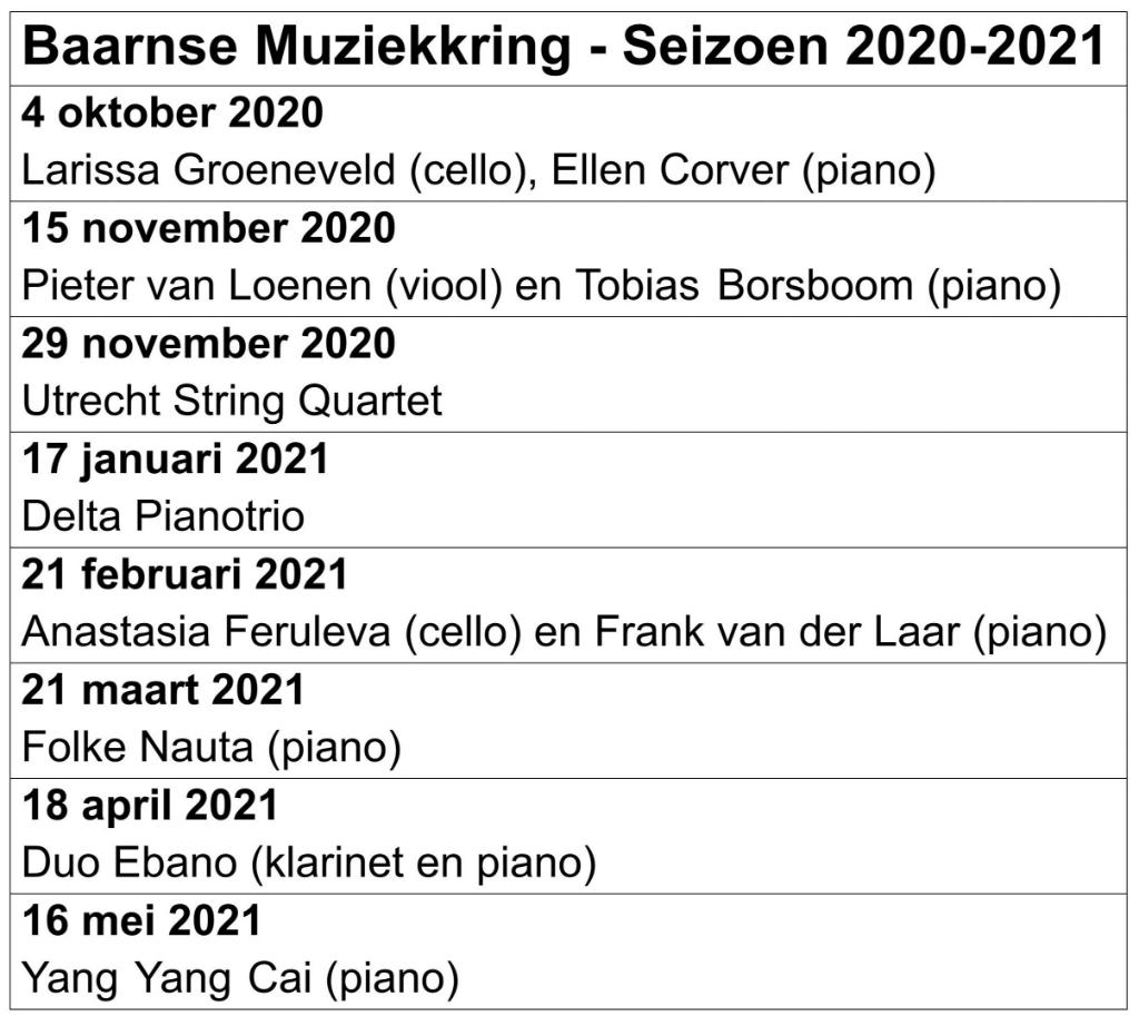 <p>Het programma voor seizoen 2020-2021.</p> <p>Baarnse Muziekkring</p> © BDU media