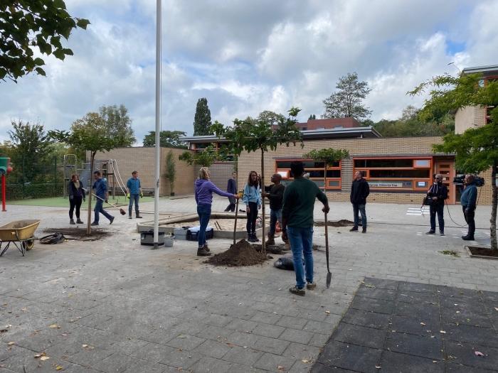 Schoolplein Valkenheuvel groener maken.