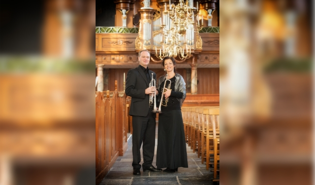 <p>Trompetduo Arjan en Edith Post</p>