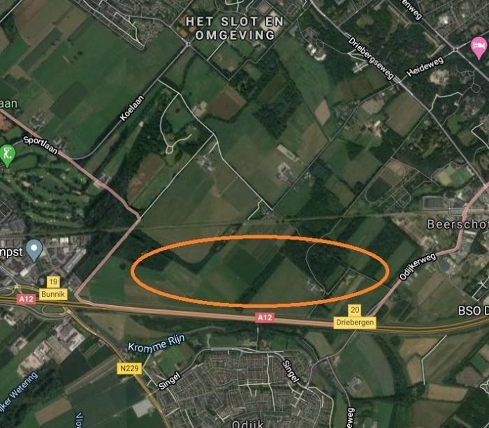 De aangewezen locatie door de gemeente Zeist.