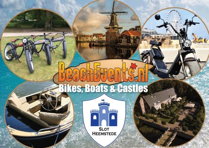 Verschillende aspecten van evenement: Slot Heemstede, Molen de Adriaan, boten en e-bikes