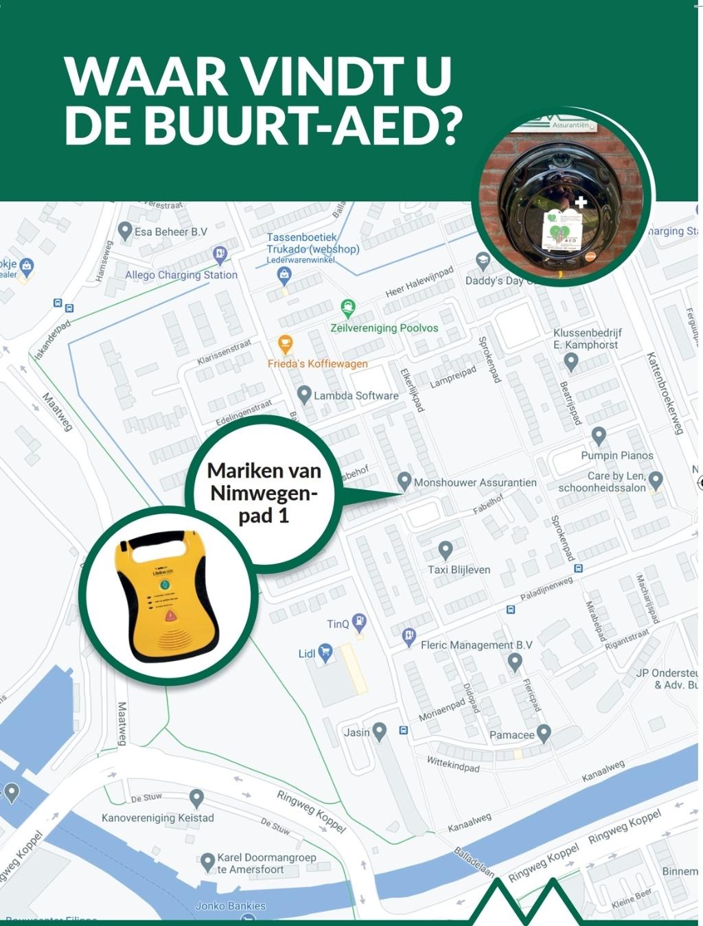 Locatie van de AED Jeroen Monshouwer © BDU media