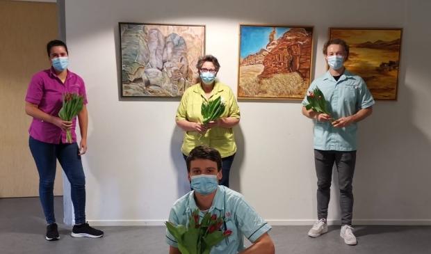 De medewerkers van de speciale corona-afdeling die zich inzetten voor de corona-patiënten uit de regio.
