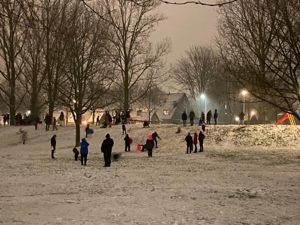 <p>Sneeuwpret in buurtpark Maandereng aan de Lucas de Kockstraat.</p> Marja Jansen © BDU Media
