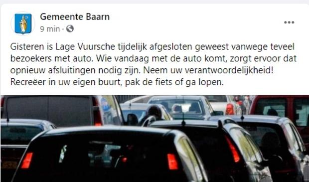 <p>De gemeente Baarn heeft vanochtend opgeroepen niet naar Lage Vuursche te komen.</p>