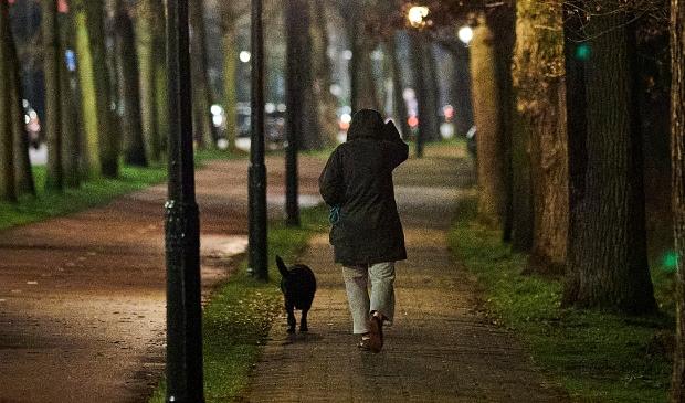 <p>Een man laat zijn hond uit. Het demissionair kabinet overweegt de invoering van een avondklok om de opmars van de Britse variant van het coronavirus een halt toe te roepen.&nbsp;</p>