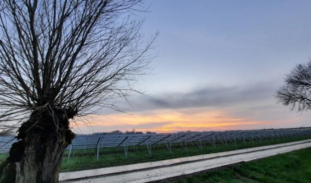De bouw van het zonneveld aan het Oostrumsdijkje in Houten/'t Goy vordert gestaag