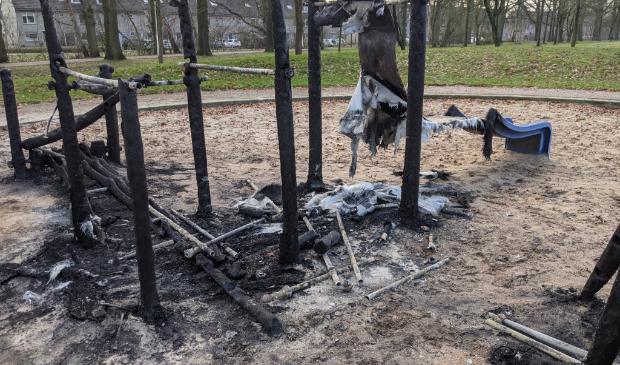 Speeltuin na de brand tijdens de jaarwisseling
