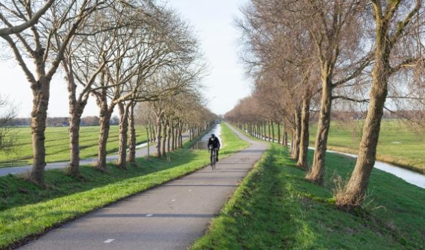 Fietser klimt dijk van de polder Purmer ten noorden van Amsterdam in Nederland op fietspad