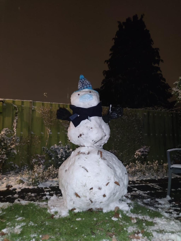 <p>De eerste sneeuwpop sinds tijden in de achtertuin!</p> Nanne Mast © BDU media