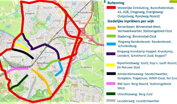 Een plattegrond met een 'buitenring' (rood) die de functie van de Stadsring overneemt.