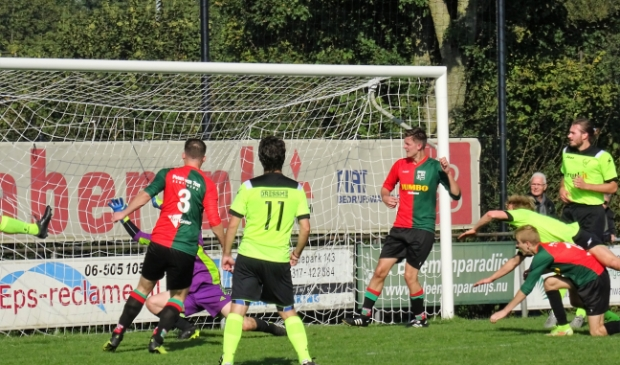 <p>In de Wageningse derby WAVV - GVC was het Glenn Gerritsen (rugnummer 3) die zijn ploeg op een 1-0 voorsprong zette.</p>