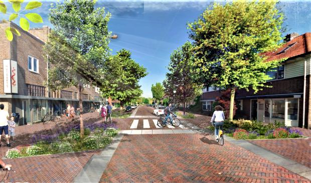 Een ontwerp van de toekomstige Noordewierweg: een straatje waar de auto te gast is.