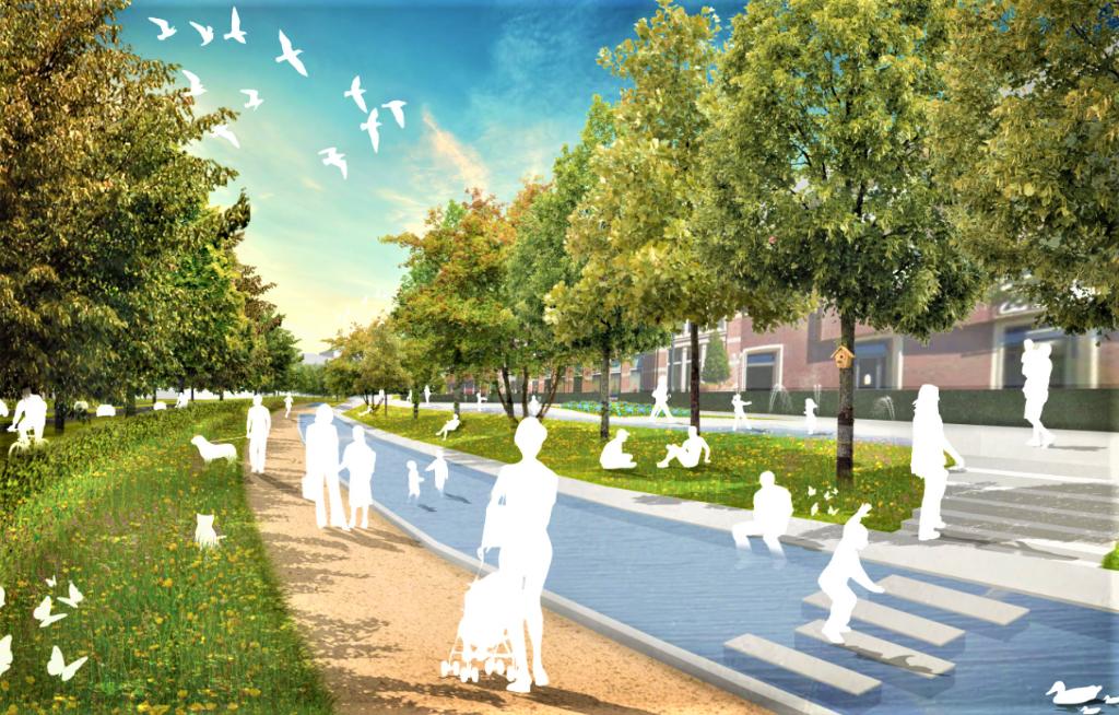 Een artist impression van de autoluwe Stadsring. Rechts, achter de bomen Amicitia.  Van Ring naar Park © BDU media