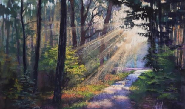 <p>Pastelschilderij van betoverend boslicht op de Wezepse hei</p>
