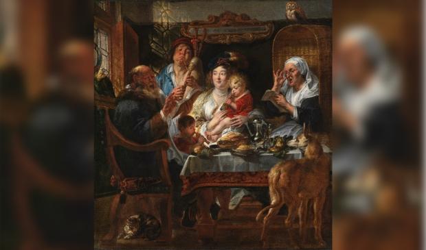 <p>Jacob Jordaens,&nbsp;<em>Zo de ouden zongen, zo piepen de jongen</em>, ca. 1640 &ndash; 1645</p>
