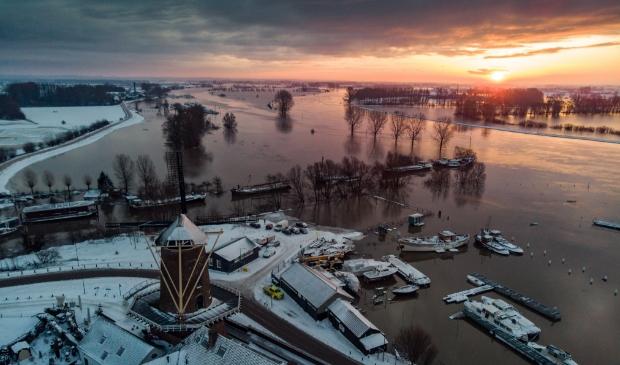 Waterschap voorspelt dat de situatie na het weekend voor Wijk bij Duurstede hetzelfde wordt zoals hier op de foto in januari 2021 (archieffoto) Guy Fleury © BDU media