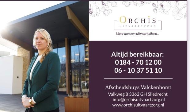 <p>Orchis Uitvaartzorg Afscheidshuys Valckenhorst Valkweg 8 3362 GH Sliedrecht 0184-701200, 06-10375110 info@orchisuitvaartzorg.nl www.orchisuitvaartzorg.nl</p>