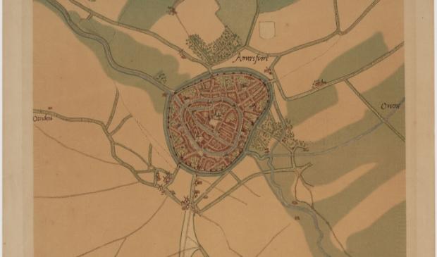 Oudste stadsplattegrond Amersfoort – datering circa 1570, reproductie circa 1930