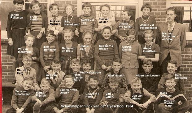 <p>Klas 6 van de SvdO-school in 1956. Bovenste rij, helemaal rechts, Meester van Deuveren.</p>