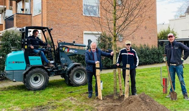 Plaatsing van een extra boom bij De Engh in het dorpscentrum onder toeziend oog van Rijk Nellestijn (Kunsthagen), THW-bestuurslid Bram Brinkman en het team van Wijnen Tuinen