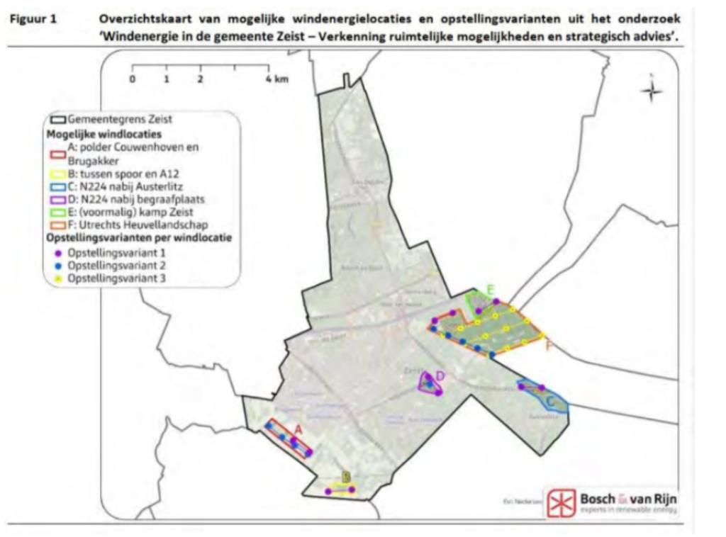 De zoekgebieden in Zeist, waarbij alleen zoekgebied B overeind is gebleven Bosch & Van Rijn © BDU media