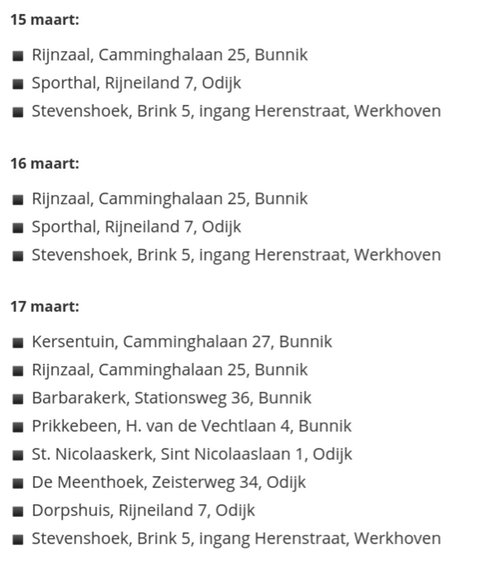 Overzicht van de stembureaus in de gemeente Bunnik Gemeente Bunnik © BDU media